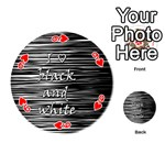 I love black and white Playing Cards 54 (Round)  Front - Heart9