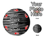 I love black and white Playing Cards 54 (Round)  Front - HeartJ