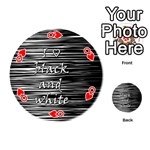 I love black and white Playing Cards 54 (Round)  Front - HeartQ
