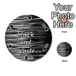 I love black and white Playing Cards 54 (Round)  Front - Spade6