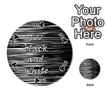 I love black and white Playing Cards 54 (Round)  Front - Club3