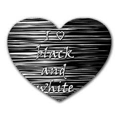 I Love Black And White Heart Mousepads