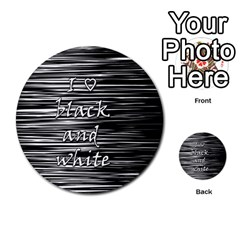 I Love Black And White Multi Purpose Cards (round)