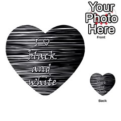 I Love Black And White Multi Purpose Cards (heart)