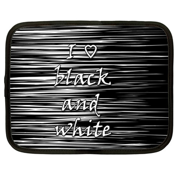 I love black and white Netbook Case (Large)