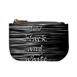 I love black and white Mini Coin Purses Front
