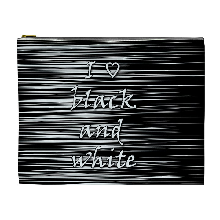 I love black and white Cosmetic Bag (XL)