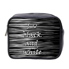 I Love Black And White Mini Toiletries Bag 2 Side