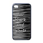 I love black and white Apple iPhone 4 Case (Black) Front
