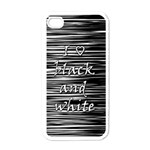 I love black and white Apple iPhone 4 Case (White) Front