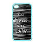 I love black and white Apple iPhone 4 Case (Color) Front
