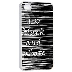 I Love Black And White Apple Iphone 4/4s Seamless Case (white)