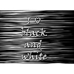 I love black and white Heart 3D Greeting Card (7x5) Back