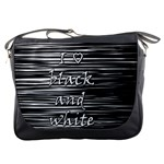 I love black and white Messenger Bags Front