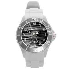 I Love Black And White Round Plastic Sport Watch (l)