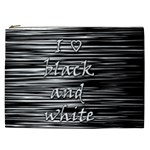 I love black and white Cosmetic Bag (XXL)  Front