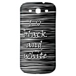 I love black and white Samsung Galaxy S3 S III Classic Hardshell Back Case Front
