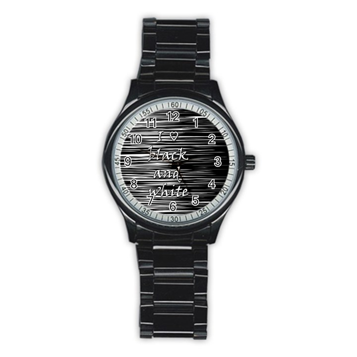 I love black and white Stainless Steel Round Watch