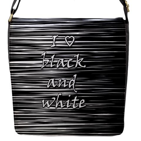 I love black and white Flap Messenger Bag (S)