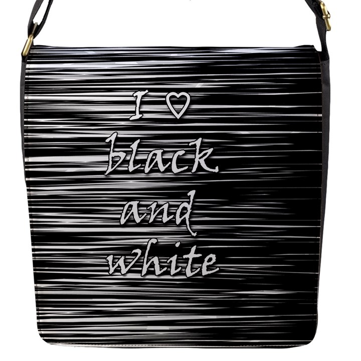 I love black and white Flap Messenger Bag (S)