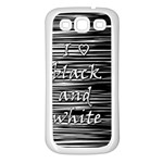 I love black and white Samsung Galaxy S3 Back Case (White) Front