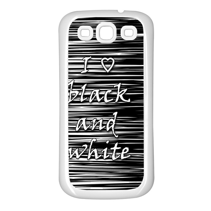 I love black and white Samsung Galaxy S3 Back Case (White)