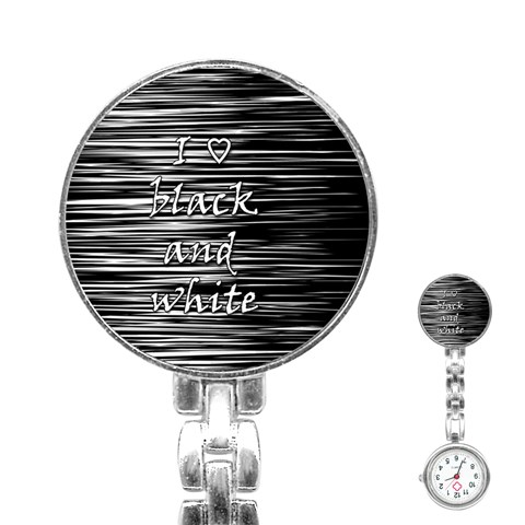 I love black and white Stainless Steel Nurses Watch