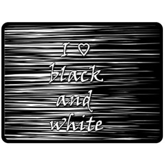 I Love Black And White Double Sided Fleece Blanket (large)
