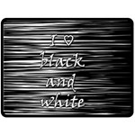 I love black and white Double Sided Fleece Blanket (Large)  80 x60 Blanket Back