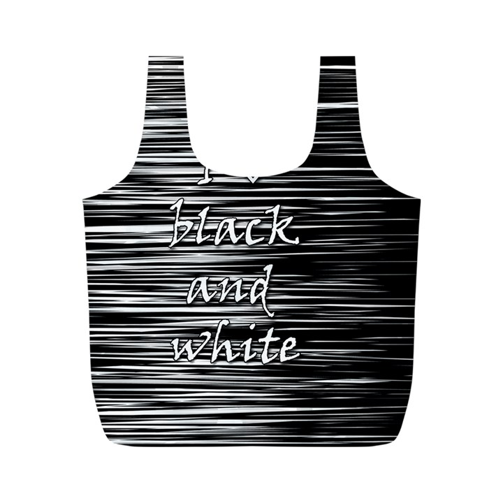 I love black and white Full Print Recycle Bags (M)