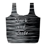 I love black and white Full Print Recycle Bags (L)  Back