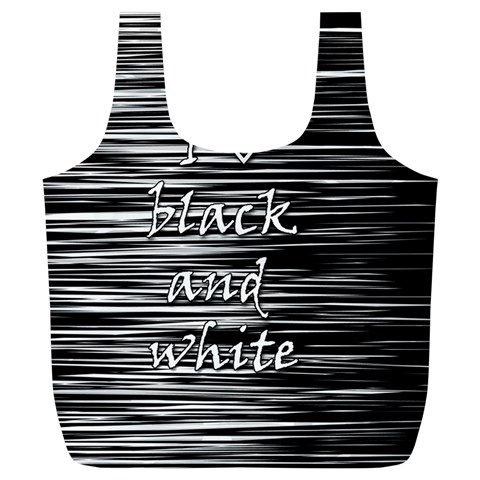 I love black and white Full Print Recycle Bags (L)