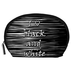 I Love Black And White Accessory Pouches (large)