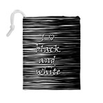 I love black and white Drawstring Pouches (Large)  Back