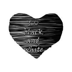 I love black and white Standard 16  Premium Flano Heart Shape Cushions