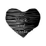 I love black and white Standard 16  Premium Flano Heart Shape Cushions Front