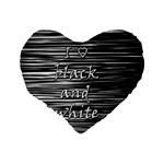 I love black and white Standard 16  Premium Flano Heart Shape Cushions Back