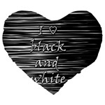 I love black and white Large 19  Premium Flano Heart Shape Cushions Front
