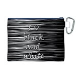 I love black and white Canvas Cosmetic Bag (XL) Back