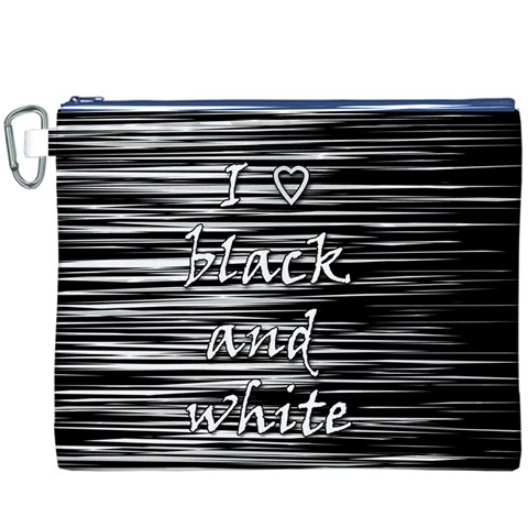 I love black and white Canvas Cosmetic Bag (XXXL)