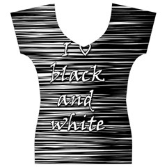 I love black and white Women s V-Neck Cap Sleeve Top