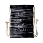 I love black and white Drawstring Bag (Small) Back