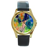 New Form Technology Round Gold Metal Watch Front