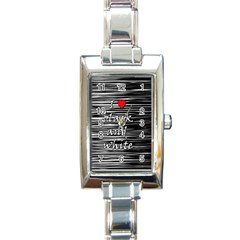 I Love Black And White 2 Rectangle Italian Charm Watch