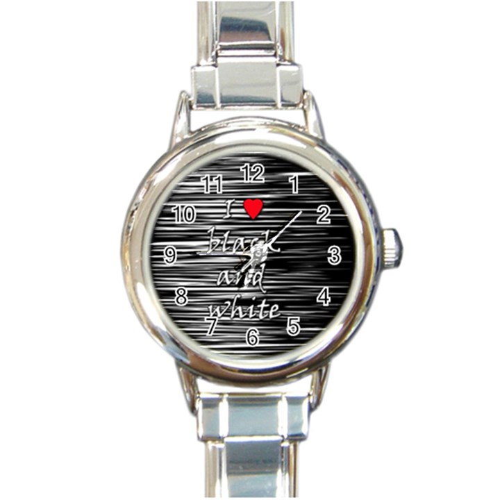 I love black and white 2 Round Italian Charm Watch