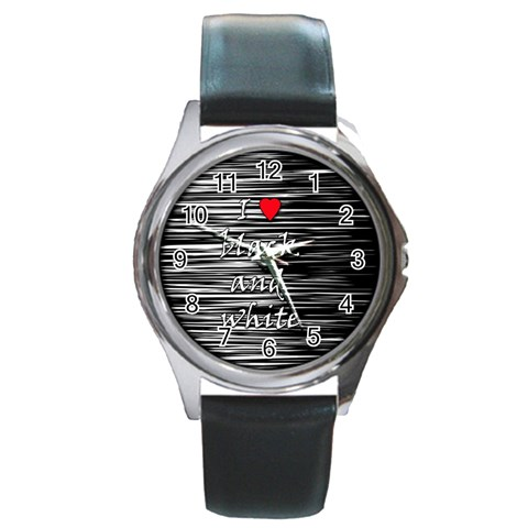 I love black and white 2 Round Metal Watch