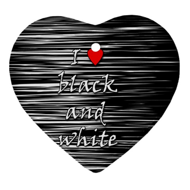 I love black and white 2 Ornament (Heart)