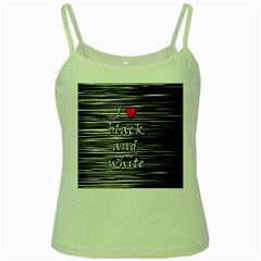 I love black and white 2 Green Spaghetti Tank