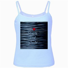 I love black and white 2 Baby Blue Spaghetti Tank
