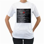 I love black and white 2 Women s T-Shirt (White) (Two Sided) Front